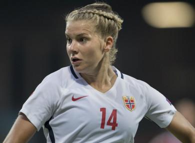 Ada Hegerberg playing for Norway in 2017.