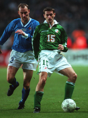 Boy in Green: Moore won his eighth and final Ireland cap against Iceland in November 1996.