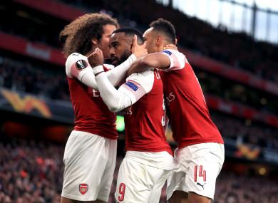 Lacazette celebrates his second goal for Arsenal.