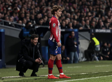 Simeone and Griezmann during this season's Champions League clash with Juventus.