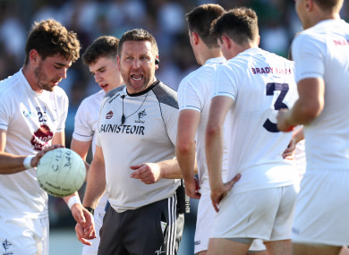 Cian O'Neill with his Kildare players before last summer's game against Mayo.
