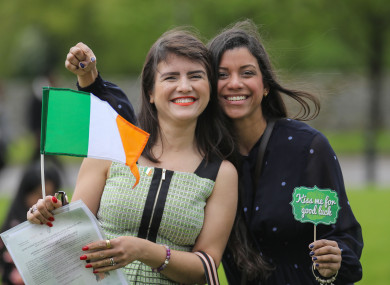 Lucimeire Da Silva (L) and Caroline Alves  Costa (R) from Brazil at this week's citizenship ceremonies in the Killarney Co, Kerry.