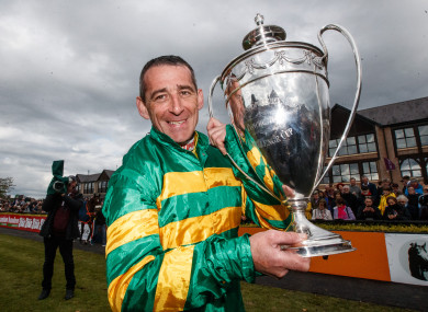 Davy Russell pictured after his victory in the Champion Hurdle on Buveur D'Air today at Punchestown.