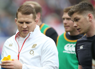 Hartley with Owen Farrell, who skippered England during this year's Six Nations.