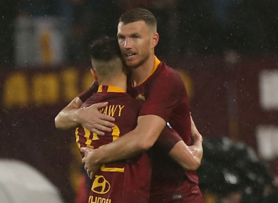 Roma stars Stephane El Shaarawy and Edin Dzeko.