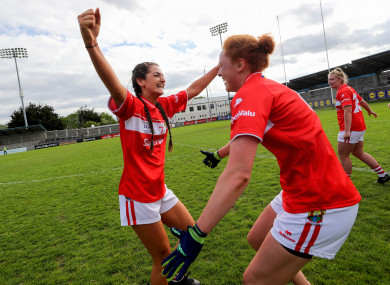 Eimear Meaney and Niamh Cotter celebrate after the game.