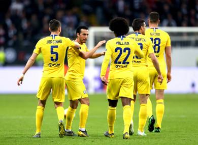 Pedro celebrates his goal for Chelsea.