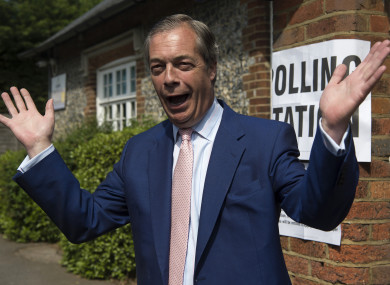 Nigel Farage casting his vote today