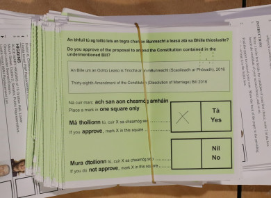 A Yes vote on a ballot paper.