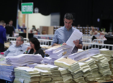 Ballot boxes being opened and counted at the RDS in Dublin last weekend