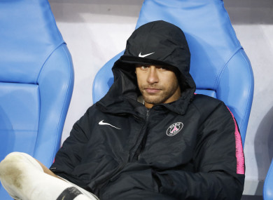 Neymar looking dejected after losing the French Cup final.