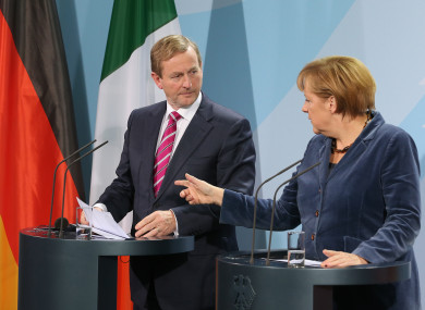 Enda Kenny and Angela Merkel host a joint press conference in Berlin in 2012.