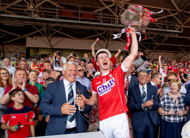 Cork's Seamus Harnedy lifting the Munster trophy last year.