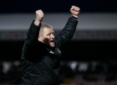 John Cotter celebrates at full time.