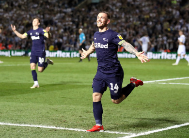 Jack Marriott scored twice as Derby County came from behind to beat Leeds United.