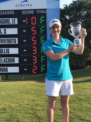 A very happy Leona Maguire after her second pro-win.