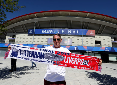 Tottenham Hotspur Fan, Glen Young at the Wanda Metropolitano, venue for the 2019 UEFA Champions League final, which will take place on Saturday.