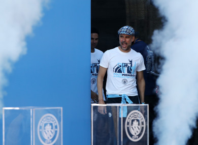 Pep Guardiola at City's trophy parade earlier this week.