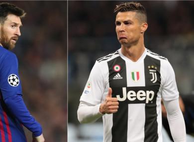 Lionel Messi (L) and Cristiano Ronaldo.