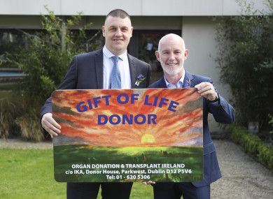 Eammon Kavangh from Clonsilla, who has undergone two liver transplants with Ray D'Arcy, the national ambassador Organ Donor Awareness 2019.