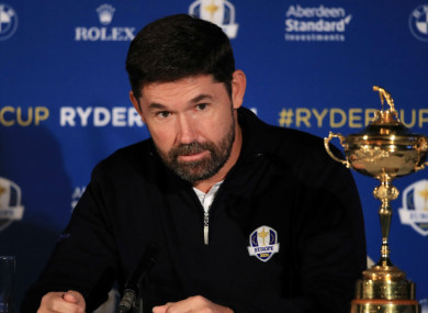 Europe's Ryder Cup captain for 2020, Padraig Harrington.