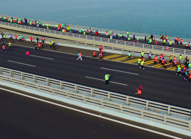 File photo of the Qingado marathon, 2017.
