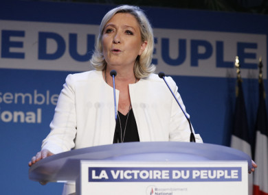 Marine Le Pen speaks after the results of the European elections.