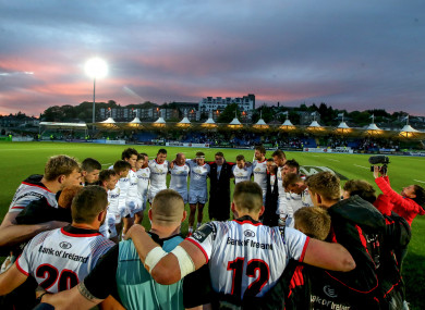 The Ulster team gather for a huddle after losing out to Glasgow Warriors.