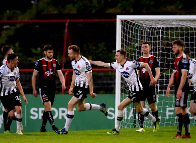 Sean Hoare celebrates his side's second goal.