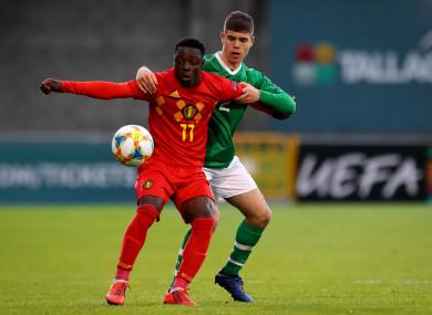Ireland's Sean McEvoy and Jeremy Doku of Belgium.
