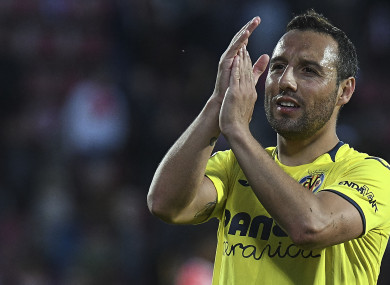 Santi Cazorla applauds supporters during a recent game against Girona.