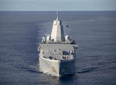 The US Navy amphibious transport dock ship USS Arlington transits the Atlantic Ocean.