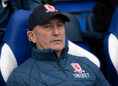 Tony Pulis took over Middlesbrough in December 2017.