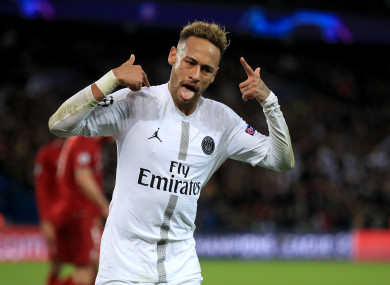 Neymar in action for PSG earlier this year.
