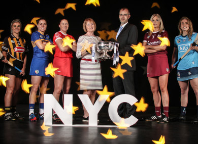 Top camogie stars with Kathleen Woods, President of The Camogie Association and Sean Brett, Head of Strategic Marketing at Liberty Insurance.