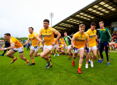 The Antrim team before their Ulster quarter-final clash against Tyrone at Armagh's Athletic Grounds.