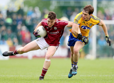 Johnny Heaney and David Murray clash during the 2018 Connacht SFC final.