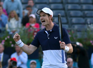 Murray celebrates victory at Queen's.