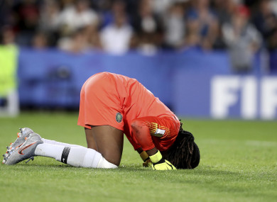 Devastated: Nnadozie reacts to the referee's decision.