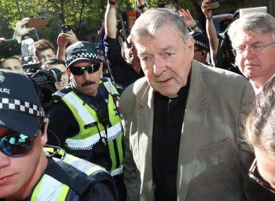 Cardinal George Pell arriving in court in February.