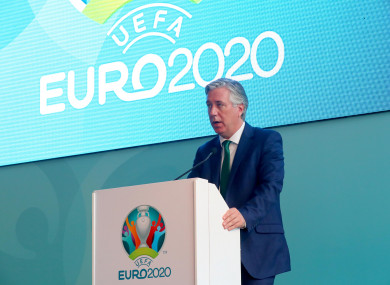 File photo of John Delaney at the launch of Euro 2020 in Dublin.