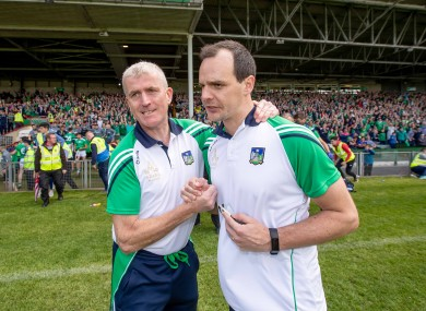 Limerick boss John Kiely with coach Paul Kinnerk after the game.