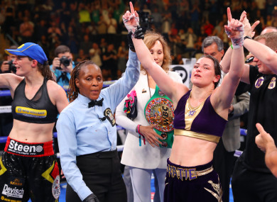 Katie Taylor is announced as the new undisputed lightweight world champion.