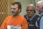 Philip Neville Arps, left, appears for sentencing in the Christchurch District Court, in Christchurch, New Zealand