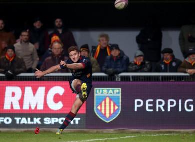 Jackson kicks a conversion against Connacht in December.