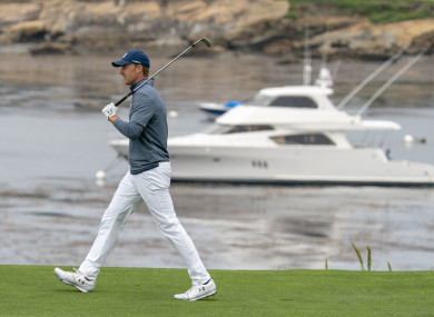 Jordan Spieth in action during the second round at Pebble Beach.