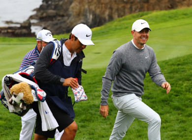 Rory McIlroy in action at Pebble Beach in California.