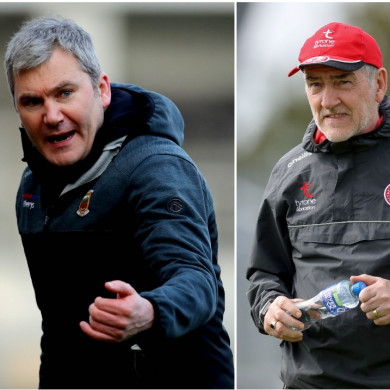 Mayo boss James Horan and Tyrone manager Mickey Harte.