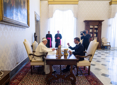 Pope Francis meets with French President Emmanuel Macron in the Vatican on 26 June 2018.