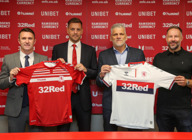 Keane (left) beside new Boro manager Jonathan Woodgate.